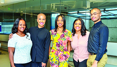 Pictured L-R is: Denver Lark (North Carolina A&T University), Dana Blair, NNPA DTU Roadtrip Navigator; MC Lyte, Diamond Durant (Morgan State University) and Tyvan Burns (Norfolk State University) pose for a photo during the NNPA's DTU 2018 Immersion experience with Chevrolet.
